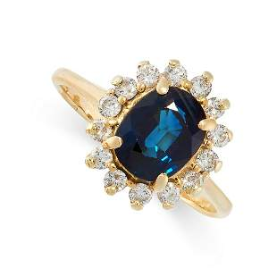 A SAPPHIRE AND DIAMOND RING in 18ct yellow gold, set