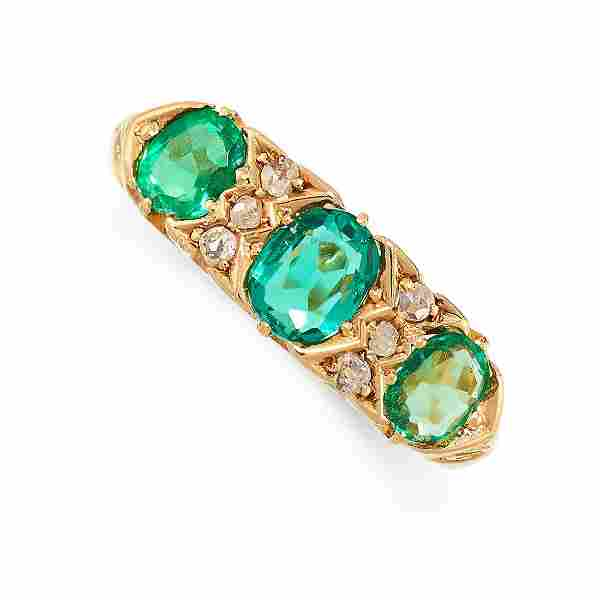 AN ANTIQUE EDWARDIAN EMERALD AND DIAMOND RING, 1906 in