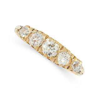 A DIAMOND FIVE STONE RING in 18ct yellow gold, set with