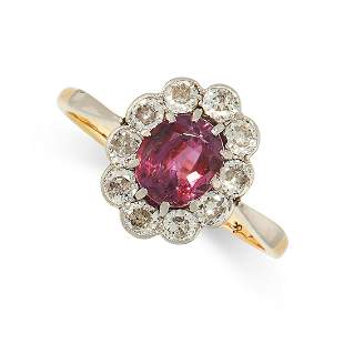 AN UNHEATED RUBY AND DIAMOND RING in 18ct yellow gold,