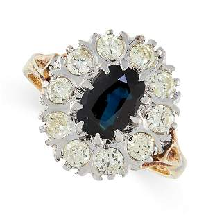 A SAPPHIRE AND DIAMOND RING in 18ct yellow gold, in