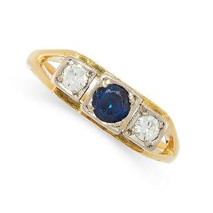 A DIAMOND AND SAPPHIRE RING in 18ct yellow gold, set