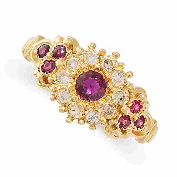 A RUBY AND DIAMOND RING in 18ct yellow gold, set with a