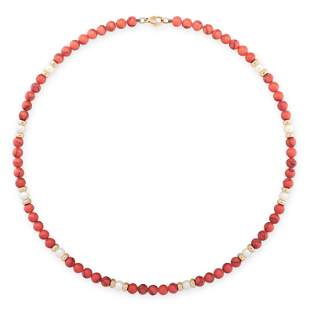 A PEARL AND DYED HOWLITE BEAD NECKLACE comprising of a