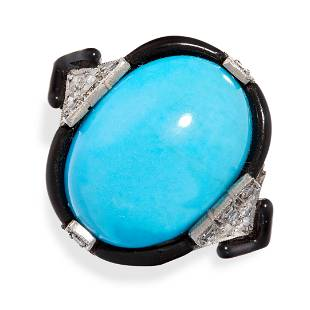 AN ART DECO TURQUOISE, ENAMEL AND DIAMOND RING set with