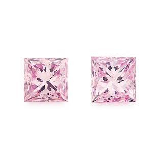 A PAIR OF NATURAL FANCY INTENSE PINK DIAMONDS of 0.48