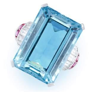 A VINTAGE AQUAMARINE, RUBY AND DIAMOND RING, CIRCA 1950