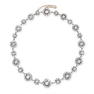AN ANTIQUE RUSSIAN DIAMOND NECKLACE in 56 zolotnik