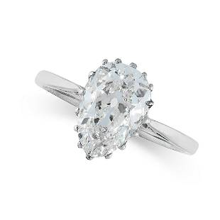 A D COLOUR SOLITAIRE DIAMOND RING set with a pear