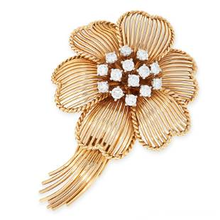 A VINTAGE DIAMOND FLOWER BROOCH, CARTIER in 18ct yellow