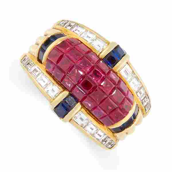 A VINTAGE RUBY, SAPPHIRE AND DIAMOND COCKTAIL RING,