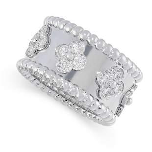A DIAMOND PERLEE CLOVERS RING, VAN CLEEF & ARPELS in