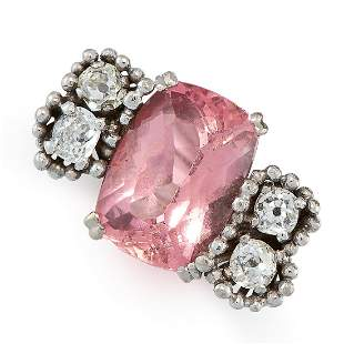 A VINTAGE PINK TOURMALINE AND DIAMOND RING, ANDREW
