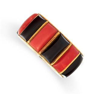 A VINTAGE CORAL AND ONYX RING, CARTIER in 18ct yellow