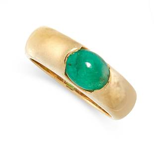 A VINTAGE EMERALD DRESS RING in 18ct yellow gold, the