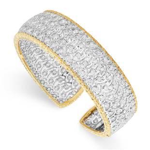 A DIAMOND CUFF BANGLE, BUCCELLATI in 18ct yellow gold