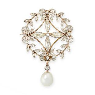 A BELLE EPOQUE NATURAL PEARL AND DIAMOND BROOCH, CIRCA