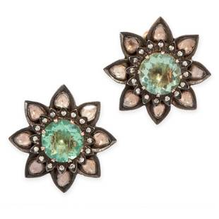A PAIR OF DIAMOND AND GREEN FLUORITE CLIP EARRINGS in