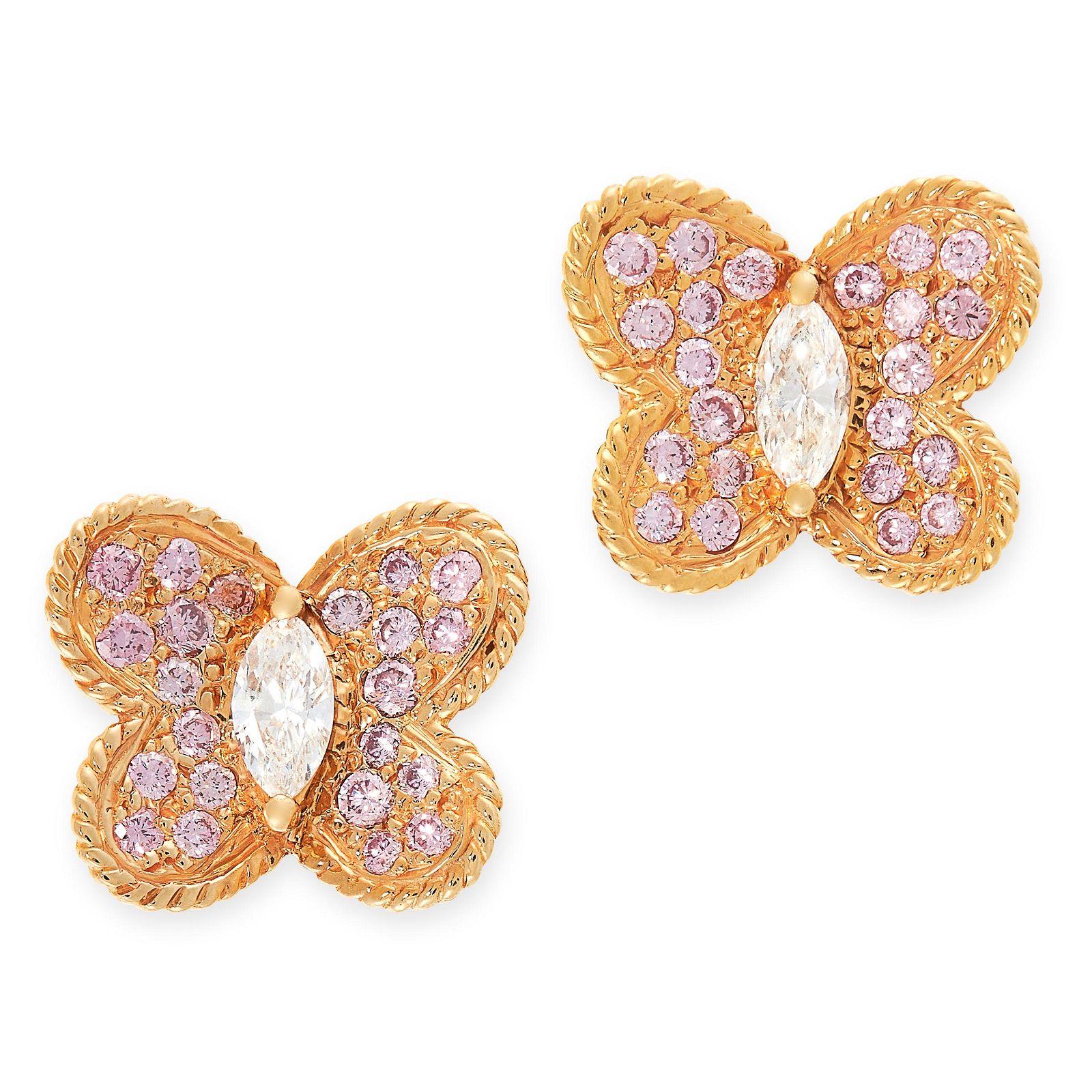 A PAIR OF PINK DIAMOND AND WHITE DIAMOND EARRINGS,