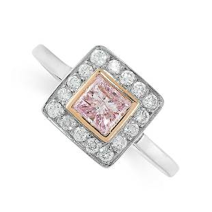 A NATURAL FANCY PURPLE PINK DIAMOND AND WHITE DIAMOND