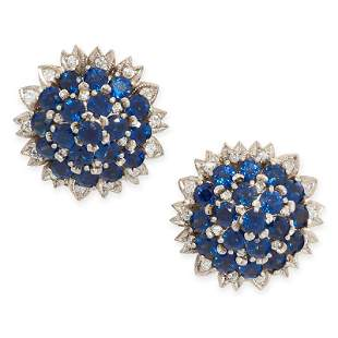 A PAIR OF VINTAGE SAPPHIRE AND DIAMOND CLIP EARRINGS in