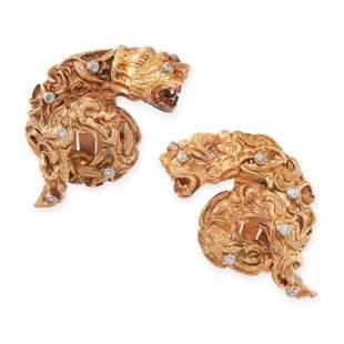 A PAIR OF LION'S HEAD DIAMOND CLIP EARRINGS, ZOLOTAS in