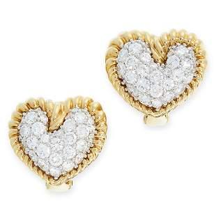 A PAIR OF DIAMOND HEART EARRINGS, TIFFANY & CO in 18ct