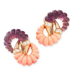 A PAIR OF VINTAGE CORAL, AMETHYST AND DIAMOND EARRINGS,