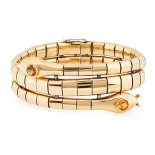 A VINTGE CITRINE SNAKE BRACELET in 18ct yellow gold,