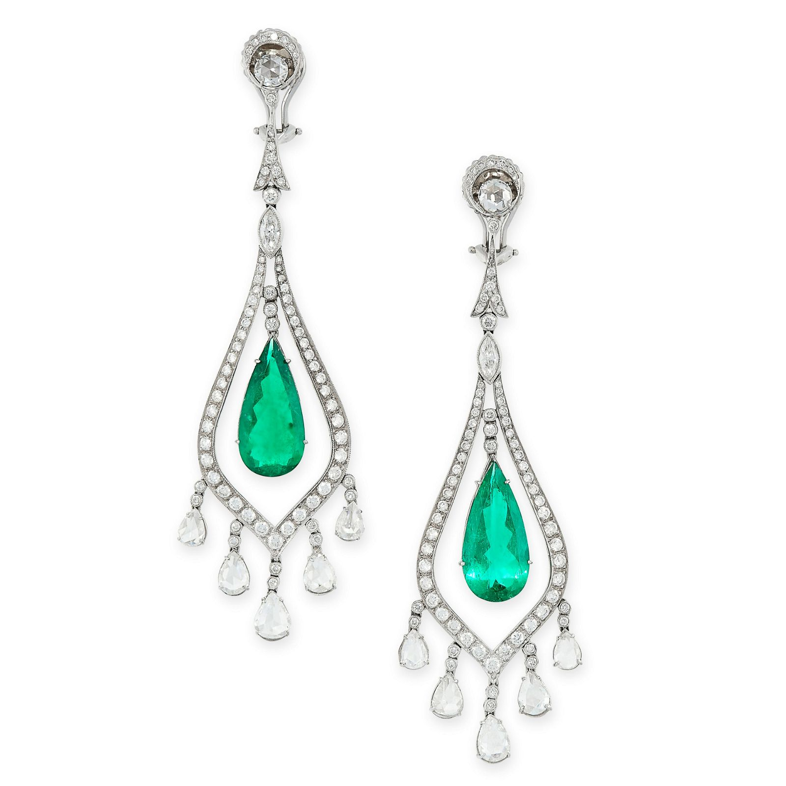 A PAIR OF COLOMBIAN EMERALD AND DIAMOND EARRINGS in