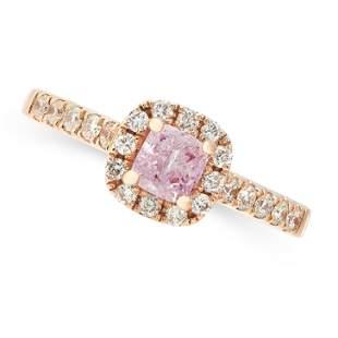 A NATURAL FANCY PURPLE-PINK DIAMOND AND WHITE DIAMOND