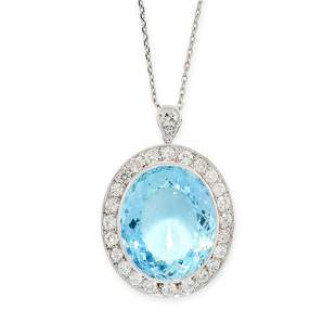 AN AQUAMARINE AND DIAMOND PENDANT AND CHAIN in 18ct