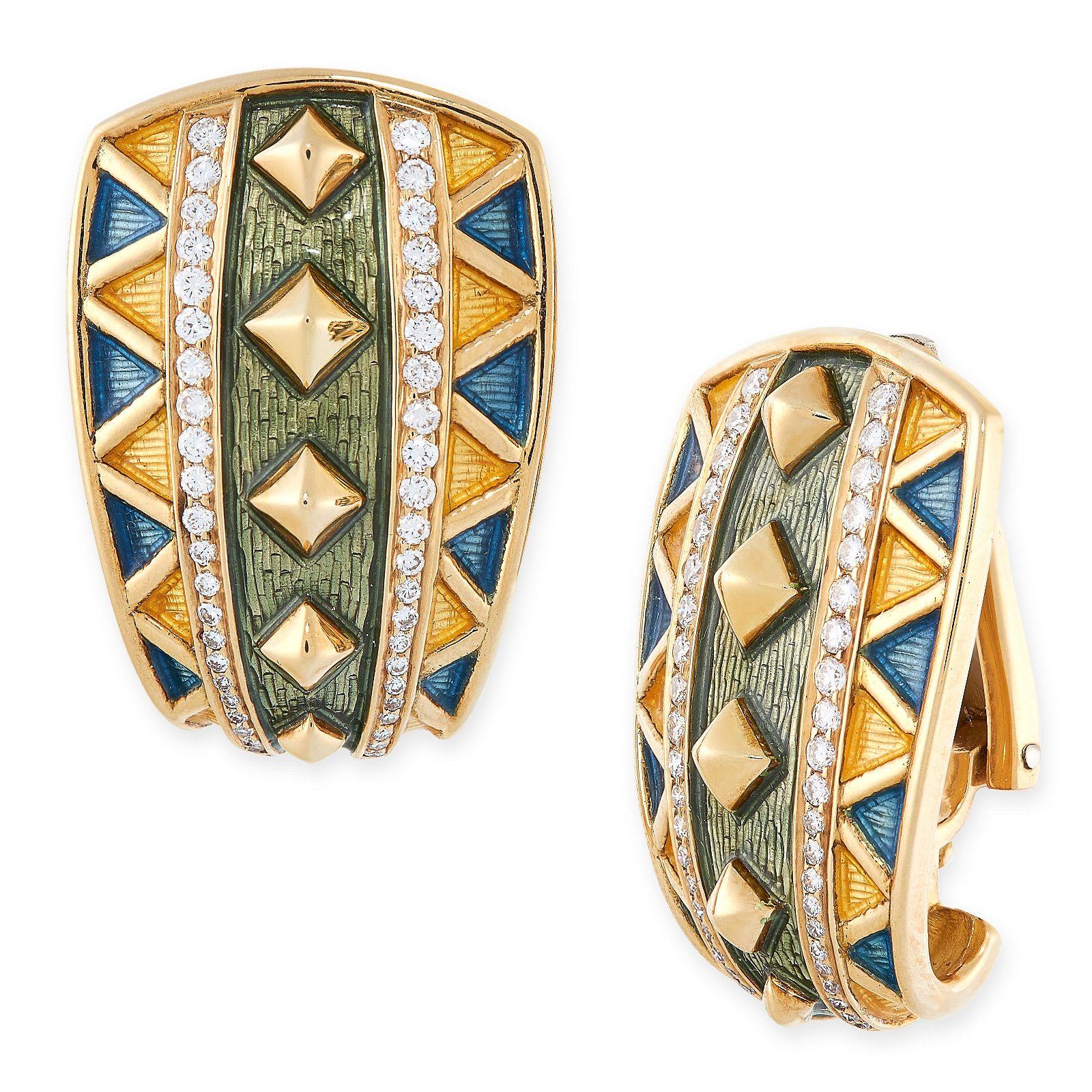 A PAIR OF ENAMEL AND DIAMOND CLIP EARRINGS, LEO DE