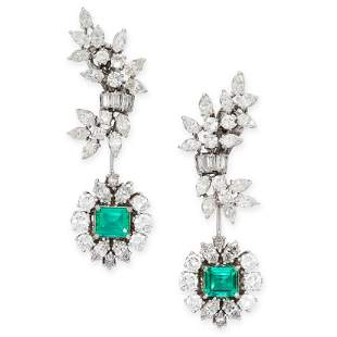 A PAIR OF COLOMBIAN EMERALD AND DIAMOND DAY AND NIGHT