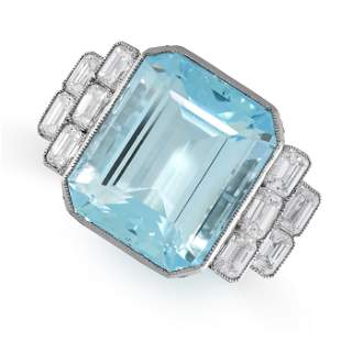 AN AQUAMARINE AND DIAMOND RING in platinum, set with an