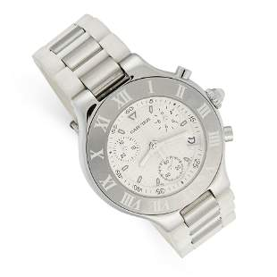 A LADIES CHRONOGRAPH 21 WRIST WATCH, CARTIER in steel,