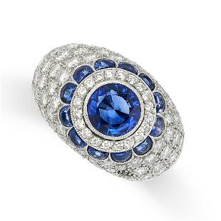 A SAPPHIRE AND DIAMOND DRESS RING in platinum, the