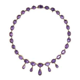 A FINE ANTIQUE AMETHYST RIVIERE NECKLACE, 19TH CENTURY