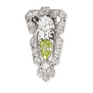 A FINE FANCY GREENISH YELLOW DIAMOND AND WHITE DIAMOND