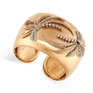 A VINTAGE DIAMOND CUFF BANGLE in 18ct white gold, the