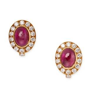 A PAIR OF RUBY AND DIAMOND CLIP EARRINGS, VAN CLEEF &