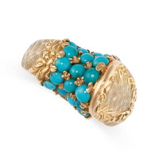 A TURQUOISE DRESS RING in 18ct yellow gold, the