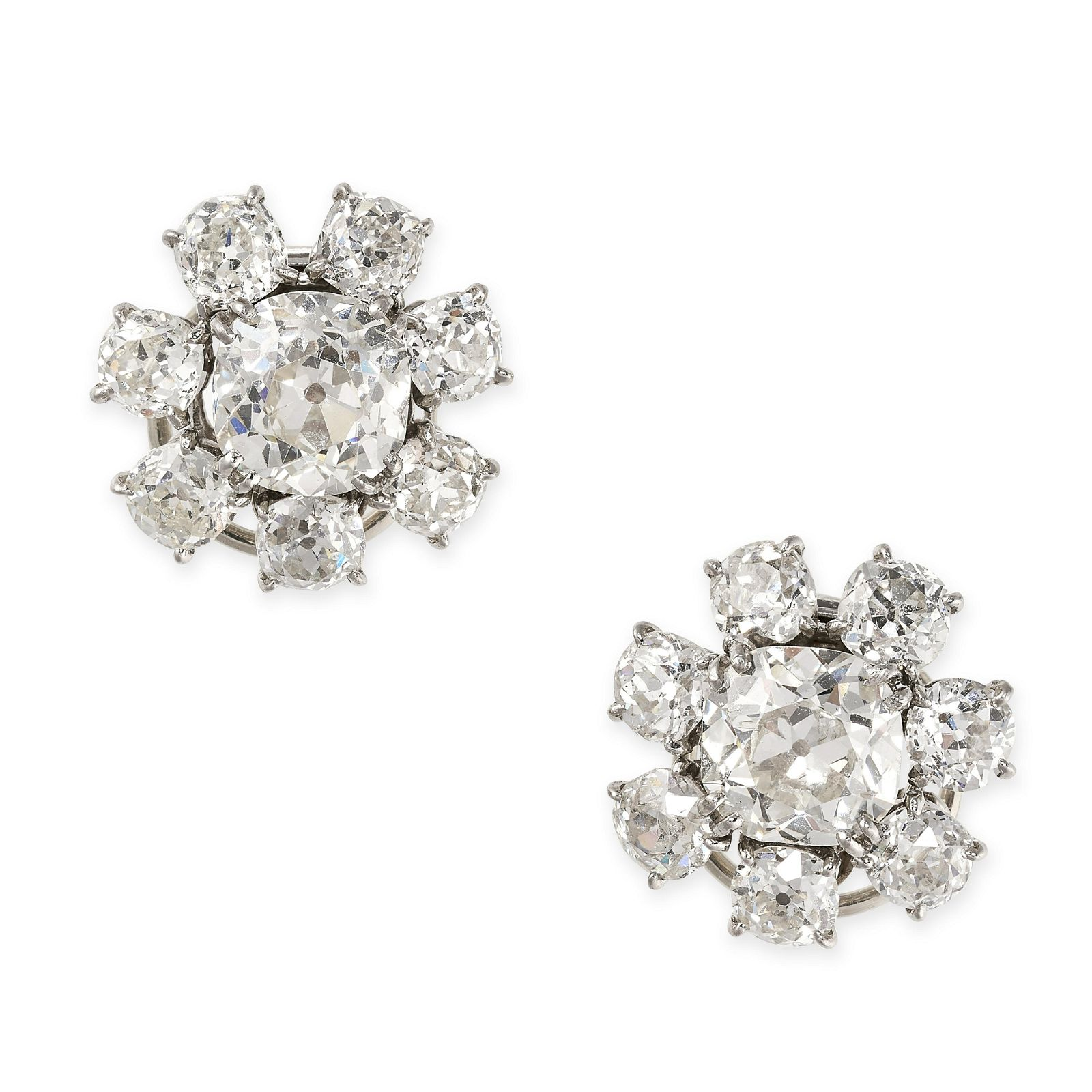 A PAIR OF DIAMOND CLUSTER CLIP EARRINGS, CHAUMET in