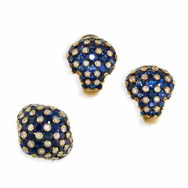 A SAPPHIRE AND DIAMOND RING AND EARRINGS SUITE, TIFFANY