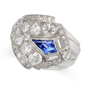 A VINTAGE SAPPHIRE AND DIAMOND COCKTAIL RING set with a