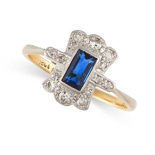 NO RESERVE - A SAPPHIRE AND DIAMOND DRESS RING in 18ct