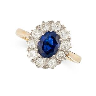 NO RESERVE - A VINTAGE SAPPHIRE AND DIAMOND DRESS RING