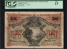 Hong Kong Chartered Bank of India, $50, 1924