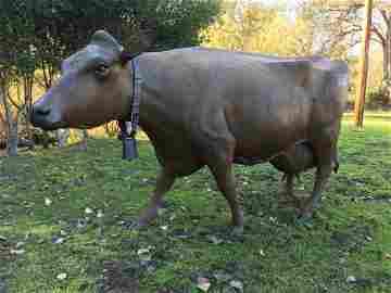 Andre Harvey Bronze life size cow bronze sculpture