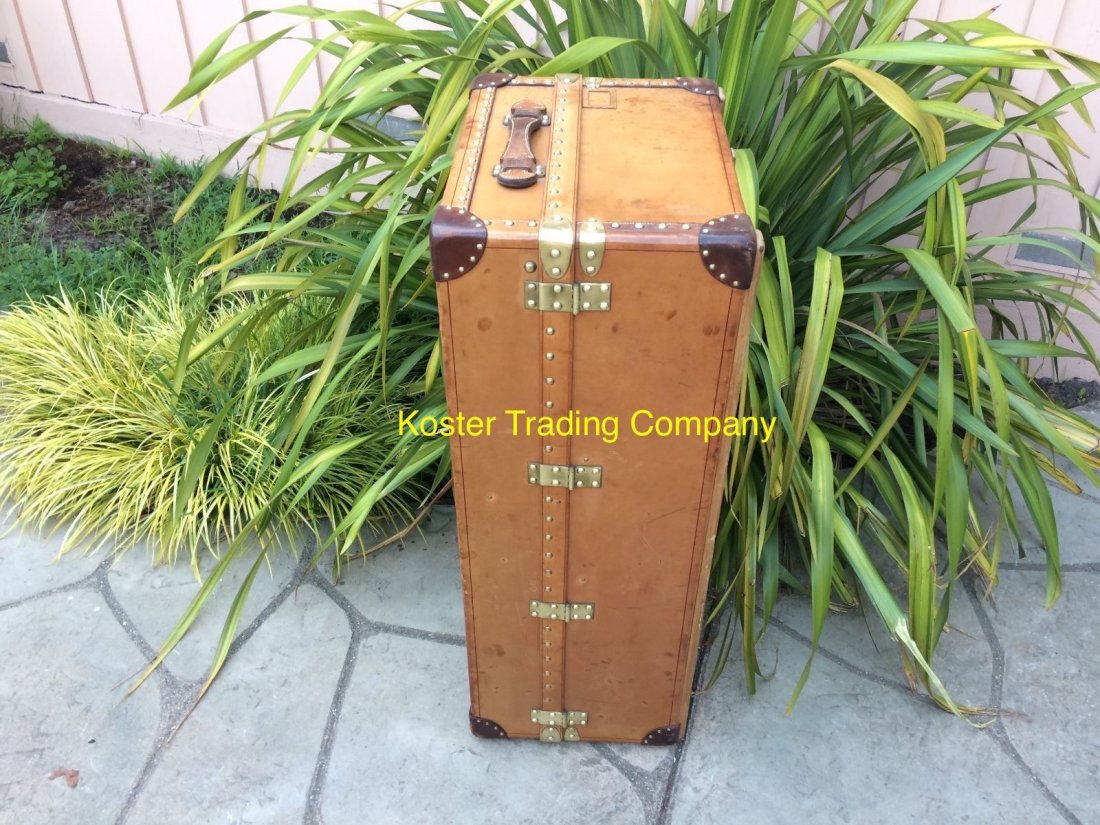 Louis Vuitton Antique Leather Wardrobe Steamer Trunk - 8
